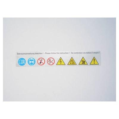 Sticker met veiligheidssymbolen 140x25 | Tractiebatterijen.com